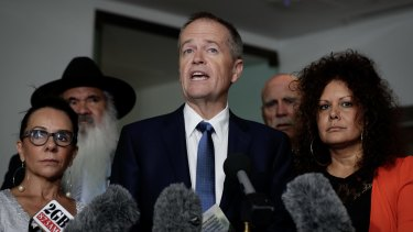 Bill Shorten at a press conference today with Indigenous Labor MPs Linda Burney, Pat Dodson and Malarndirri McCarthy. Warren Snowdon is also present.