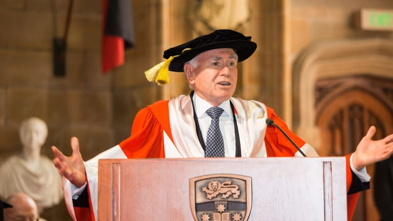 John Howard received an honorary doctorate from the University of Sydney on Friday.