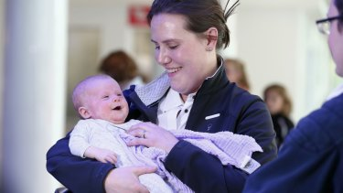 Liberal MP Kelly O'Dwyer with her daughter Olivia.
