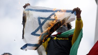 A demonstrator in Paris protesting Israel's military operation in Gaza in 2014.