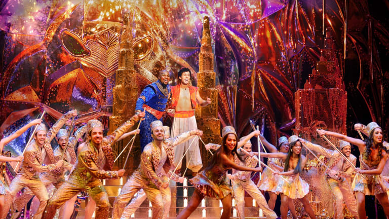 Michael James Scott as the Genie and Ainsley Melham as Aladdin in the musical touring Australia.