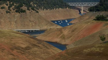 The Oroville Lake reservoir in northern California is now at less than 25 per cent capacity.