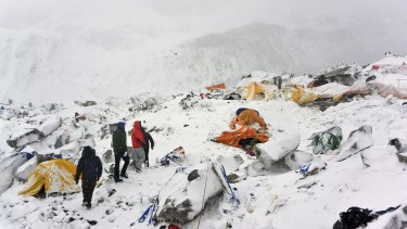 The scene at Everest base camp after the avalanche on April 25.