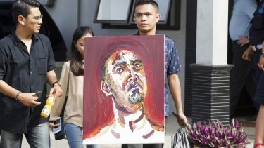 A self portrait by Myuran Sukumaran is taken to Wijaya Pura in Cilacap.
