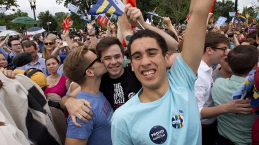 Supporters of same-sex marriage celebrate outside of the Supreme Court in Washington.