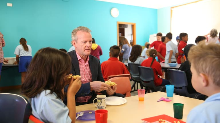 Pasi Sahlberg, seen visiting Walgett Primary School in 2016, puts Finland's PISA success down to its adoption of progressive, child-centred pedagogies.