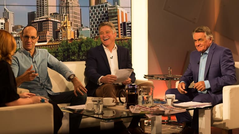 'The contest of ideas ... is the core of it': <i>Insiders</i> guest panelists from left to right: <i>The Guardian's</i> Katharine Murphy, <i>The Financial Review's</i> Phillip Coorey and Channel Seven's Mark Riley, with host Barrie Cassidy.
