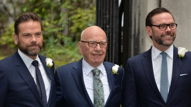 News Corp executive chairman Rupert Murdoch with his sons Lachlan (left) and James.