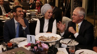 Prime Minister Malcolm Turnbull, with broadcaster Waleed Aly and his wife Susan Carland, hosted an Iftar dinner at Kirribilli House in Sydney.