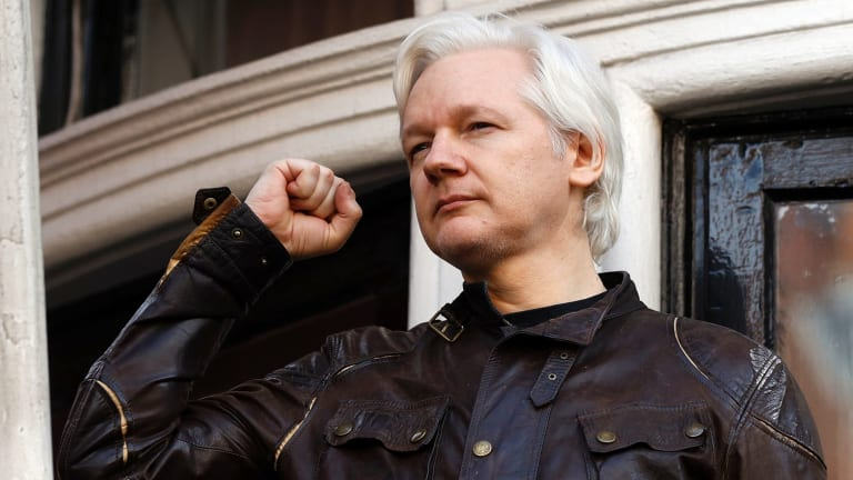 Julian Assange in London in May, on the day Swedish authorities announced they were dropping their investigation into rape charges against him.