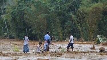 Aftermath of a landslide in Elangipitiya village in Aranayaka.