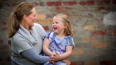 Stella Davis, 6, with her mother Lara MacEwan.