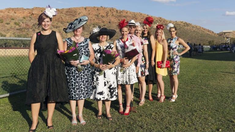 Fashions on the Field winners strut their stuff on raceday at Kununurra, in East Kimberley, Western Australia.
