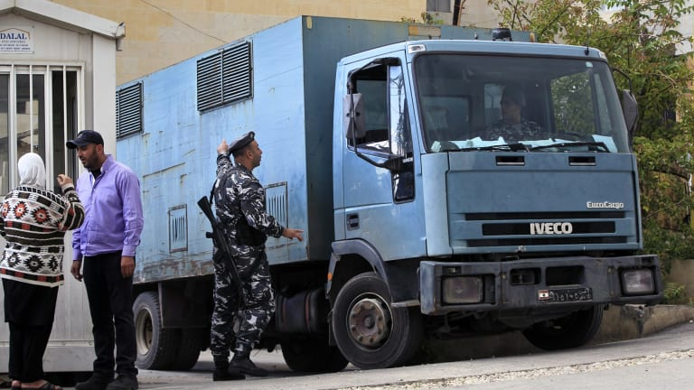 A police truck transports Sally Faulkner and Channel 9 presenter Tara Brown to Baabda Women's Prison in south-eastern Beirut on Wednesday.