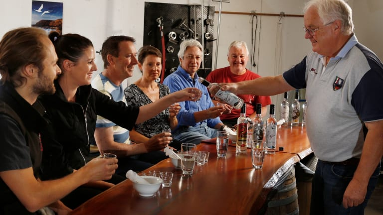 Bob Laing,  right, runs a master class at the Bass & Flinders Distillery.