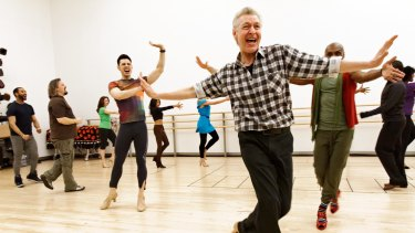 Tony Sheldon in rehearsals for the Broadway season of Priscilla.