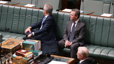 Malcolm Turnbull and Christopher Pyne listen to Warren Entsch introduce a private member's bill on marriage equality in August.