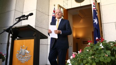 Prime Minister Malcolm Turnbull ahead of the surprise announcement in Canberra.