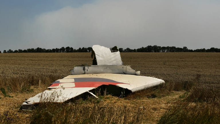 A portion of the MH17 wing lies in the field as smoke rises behind the tree-line where fighting continued off the crash site.