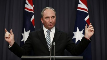 Deputy Prime Minister Barnaby Joyce makes a pitch for the extradition treaty with China at Parliament House.