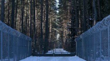 Possible torture site: A barbed wire fence surrounds a military area in the forest near the village of Stare Kiejkuty.