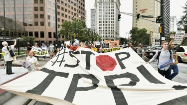 No deal: Protesters in Atlanta, Georgia, express opposition to the Trans-Pacific Partnership.