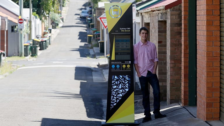 Stress buster: Ted Hodge with his high-tech bus stop outside the garage of his family home. The project delivered him the top HSC score in the state for design and technology.