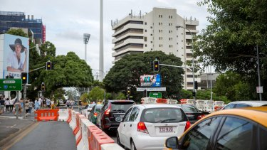 Traffic is building around the Gabba ahead of the Adele concert on Saturday night.