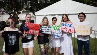 Adele fans at her Brisbane concert at the Gabba stadium on March 4 in Brisbane.