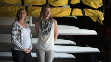 Shared memories: Amber Halliday, and Sally Callie at the West Lakes boat shed in Adelaide.