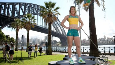 On track: Champion hurdler Sally Pearson models Australia's Olympic team uniform for the Rio 2016 Olympics.