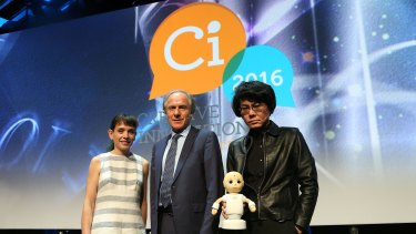 NASA scientist Abigail Allwood, Chief Scientist Alan Finkel and Japanese roboticist Hiroshi Ishiguro (with robot) at Creative Innovation 2016 in Melbourne.