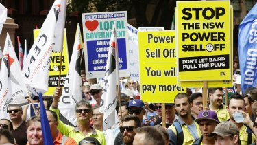 Protesters rallied to reject plans for asset sales in NSW.