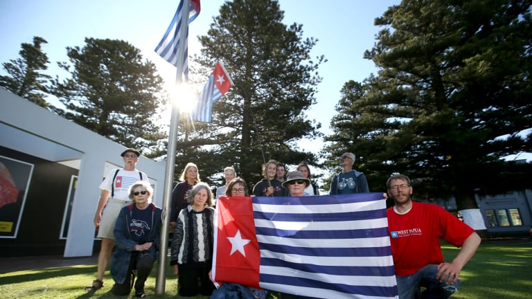 """The """"morning star"""" flag of West Papua separatists."""