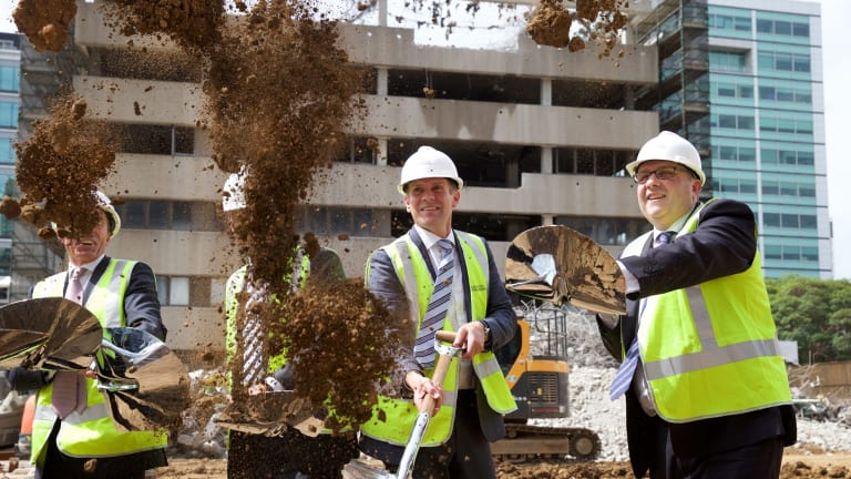 NSW Premier Mike Baird and Leighton Properties'  Andrew Borger turn the first sod to mark the official start of construction of the University of Western Sydney's new Parramatta high-rise campus.