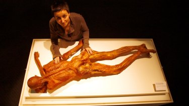 Dr Angelika Fleckinger with a replilca of Otzi the famous iceman.