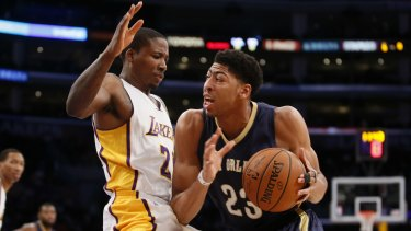 db1ad229f Force of nature  Anthony Davis takes it to the hoop for New Orleans against  Lakers