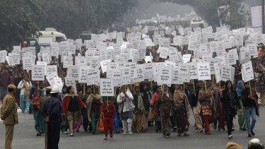 Women march against rape in the Indian capital shortly after the victim of the December 2012 New Delhi gang rape was cremated.