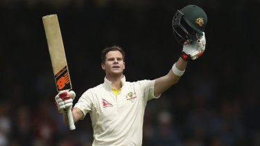 Steve Smith celebrates after reaching his double century during day two second Ashes Test match.