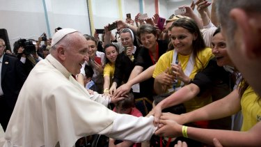 Pope Francis at the youth centre in Sarajevo on Saturday.