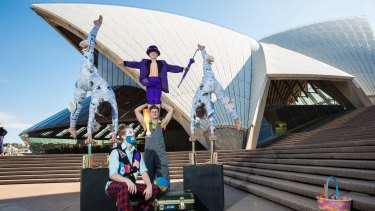 Members of the Flying Fruit Fly Circus prepare for their new show JUNK.