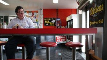 George Christensen at a chicken shop in his Queensland electorate.