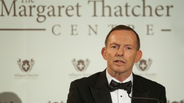 Former Australian Prime Minister Tony Abbott gives The Margaret Thatcher Lecture in 2015.