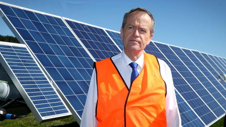 Opposition Leader Bill Shorten visits the Mount Majura Solar Farm in Canberra.