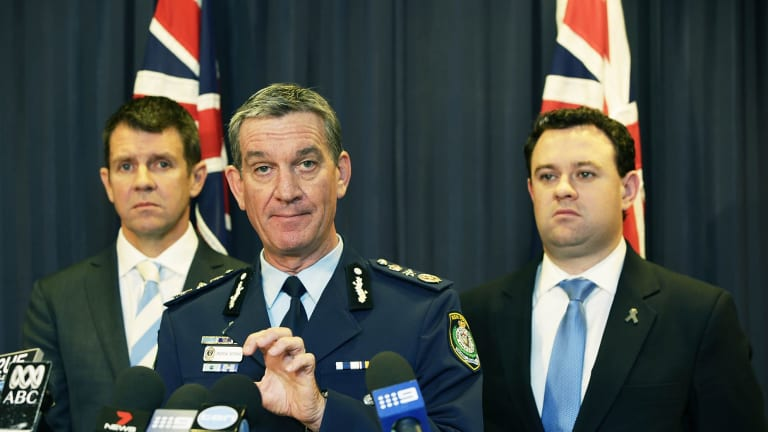 Resolute: Premier Mike Baird, NSW Police Commissioner Andrew Scipione and Police Minister Stuart Ayres addressing the media.