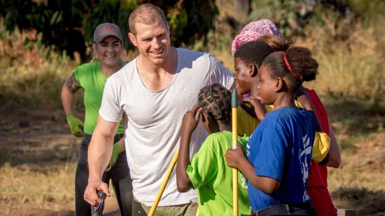Sabbatical: David Pocock speaks to South African school children in Khokhovela.