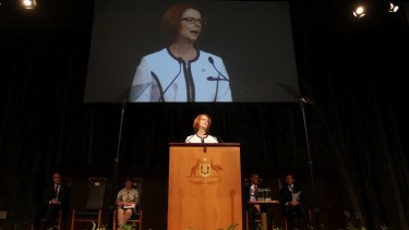 Prime Minister Julia Gillard delivers the National Apology for Forced Adoption in the Great Hall at Parliament House in Canberra on March 21, 2013.