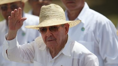 Cuban President Raul Castro waves after attending the Plaza de la Revolution Mass given by Pope Francis.