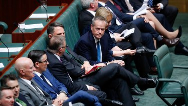 Opposition Leader Bill Shorten during a division during question time on Wednesday.