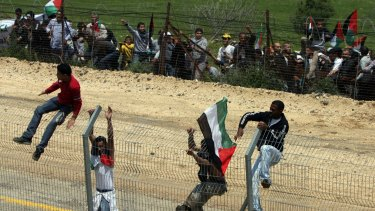Palestinian protesters at the Israel-Syria border in May 2011. Several were killed when Israeli soldiers opened fire.